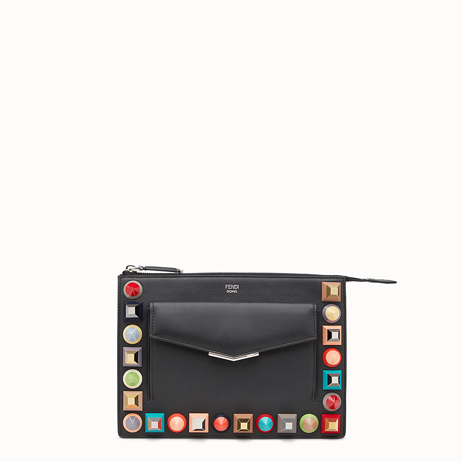 FENDI MINI POUCH - in black leather with multicoloured studs - view 1 detail