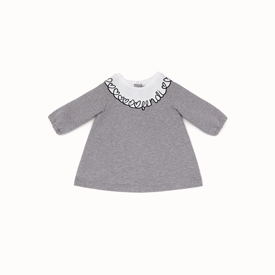 FENDI DRESS - Melange grey sweatshirt-fleece dress - view 1 detail