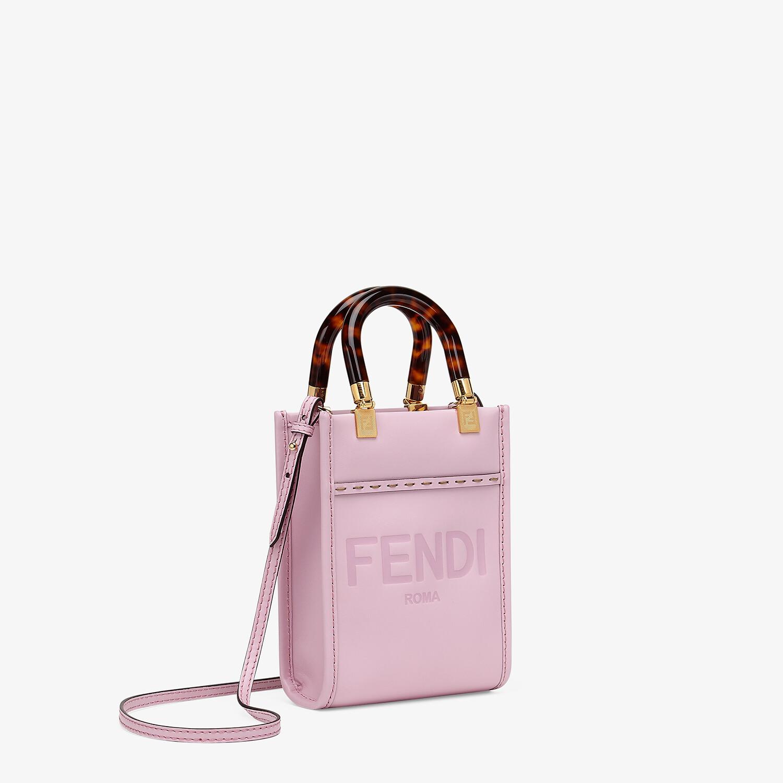 FENDI MINI SUNSHINE SHOPPER - Pink leather mini-bag - view 3 detail