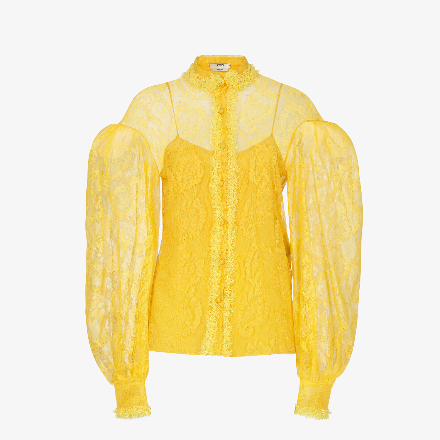 FENDI SHIRT - Yellow lace shirt - view 1 detail
