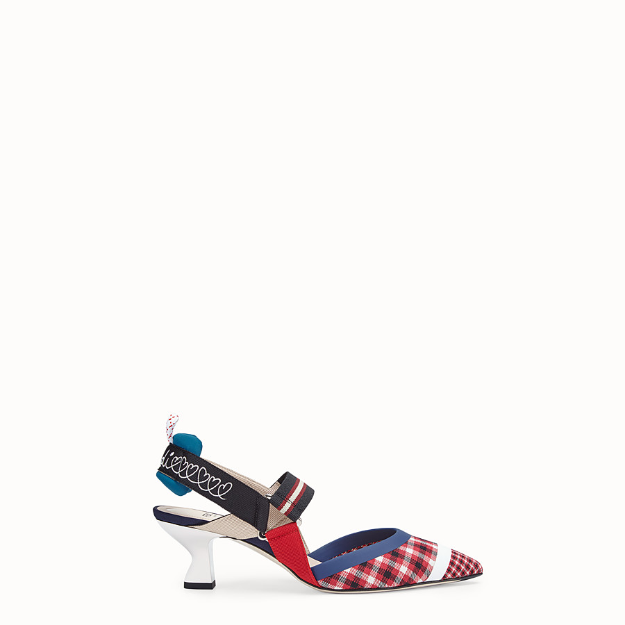 FENDI COURT SHOES - Multicolour wool slingbacks - view 1 detail