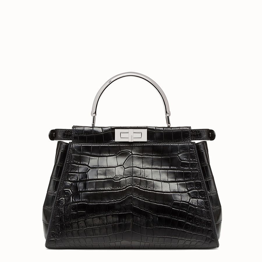 FENDI PEEKABOO REGULAR - Black crocodile leather handbag. - view 3 detail