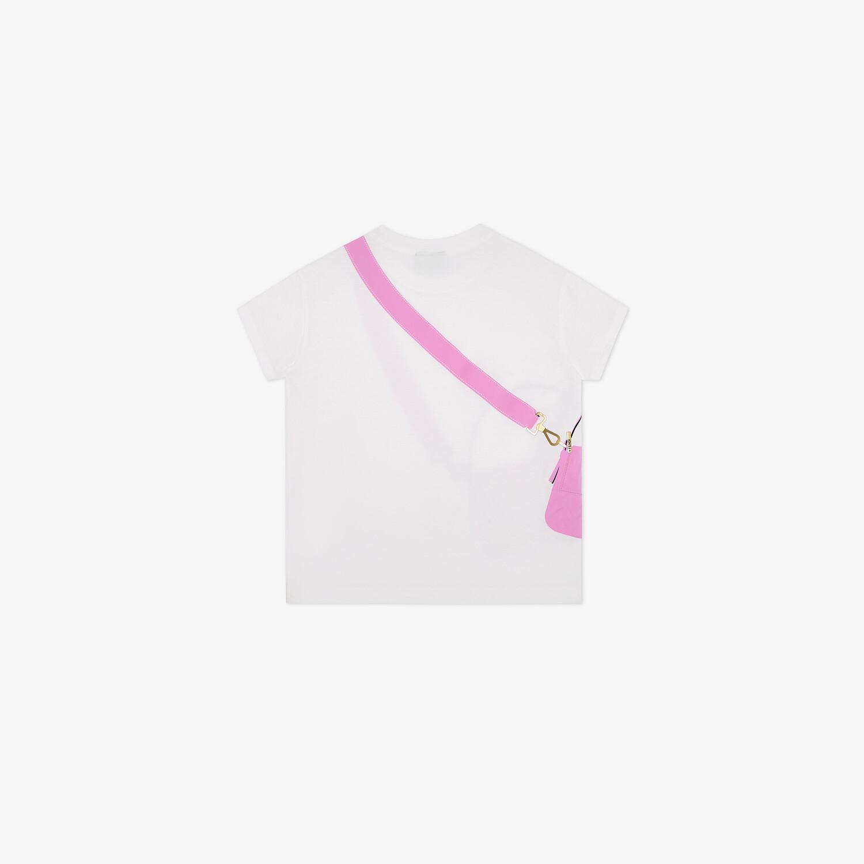 FENDI JUNIOR T-SHIRT - White jersey and pink print junior T-shirt - view 2 detail