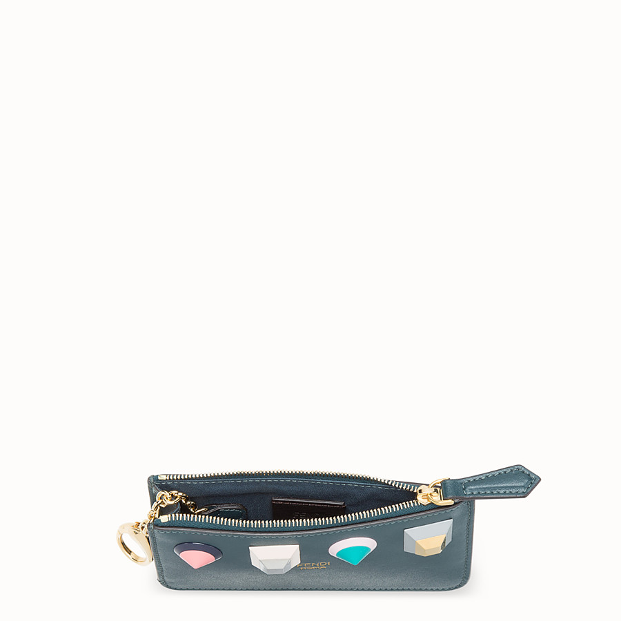 FENDI KEY RING POUCH - Green leather pouch - view 4 detail