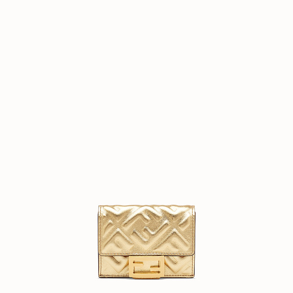 FENDI MICRO TRIFOLD - Portemonnaie aus Leder in Gold - view 1 small thumbnail