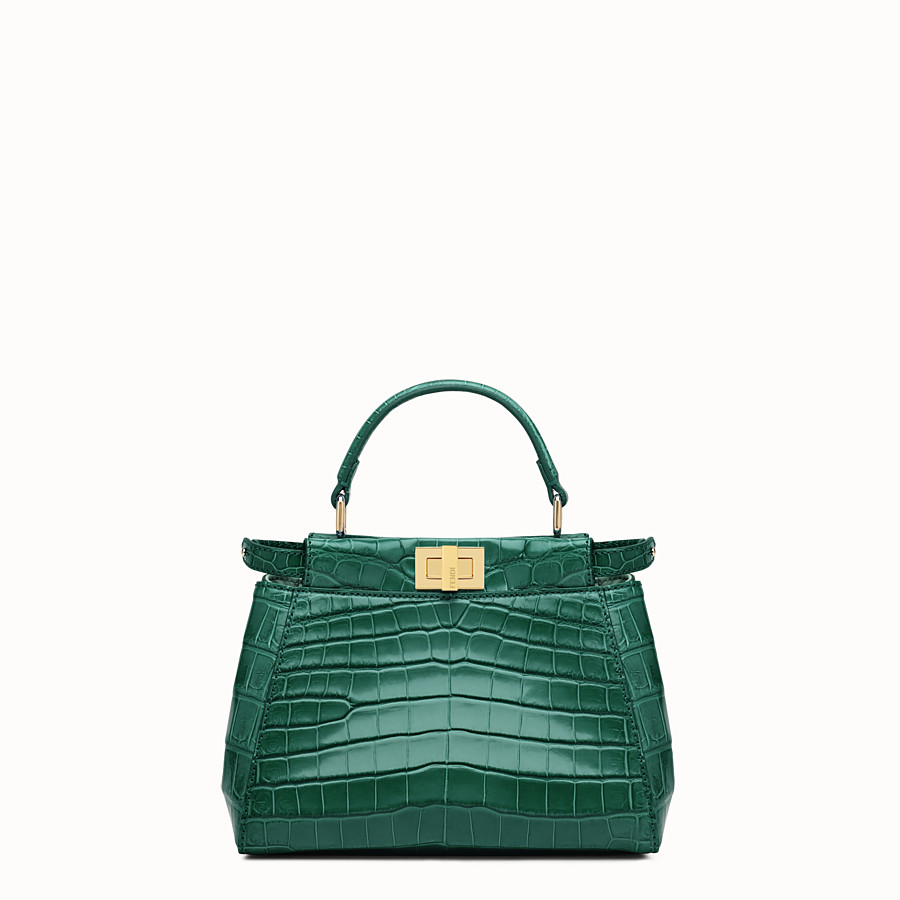 FENDI PEEKABOO ICONIC MINI - Green crocodile leather handbag. - view 1 detail