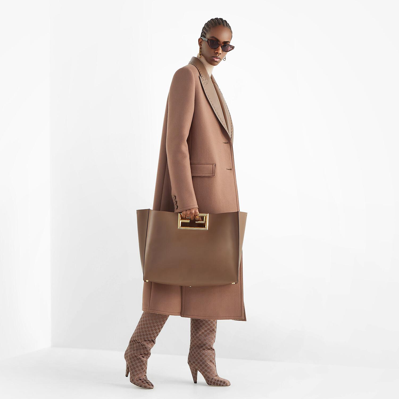 FENDI FENDI WAY LARGE - Dark brown leather bag - view 2 detail