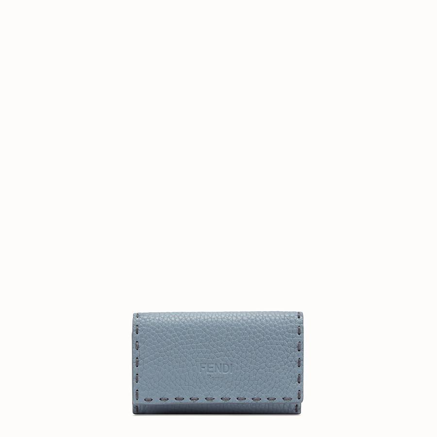 FENDI KEY RING - Pale blue leather key ring - view 1 detail