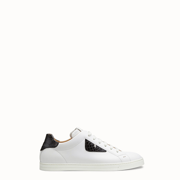 FENDI SNEAKERS - Leather low-tops with exotic leather details - view 1 small thumbnail