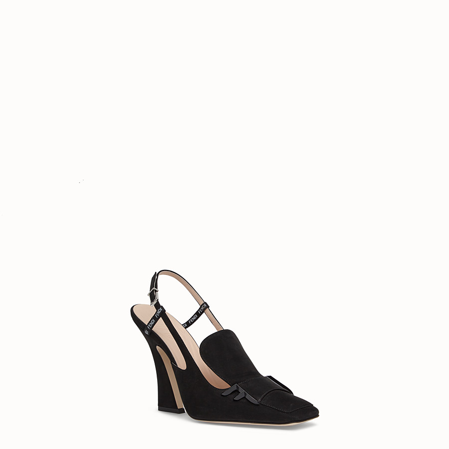 FENDI SLINGBACK - Black nubuck slingbacks - view 2 detail