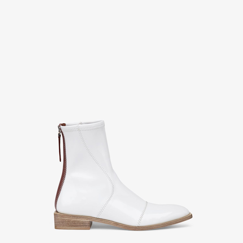 FENDI FFRAME - White glossy neoprene ankle boots - view 1 detail