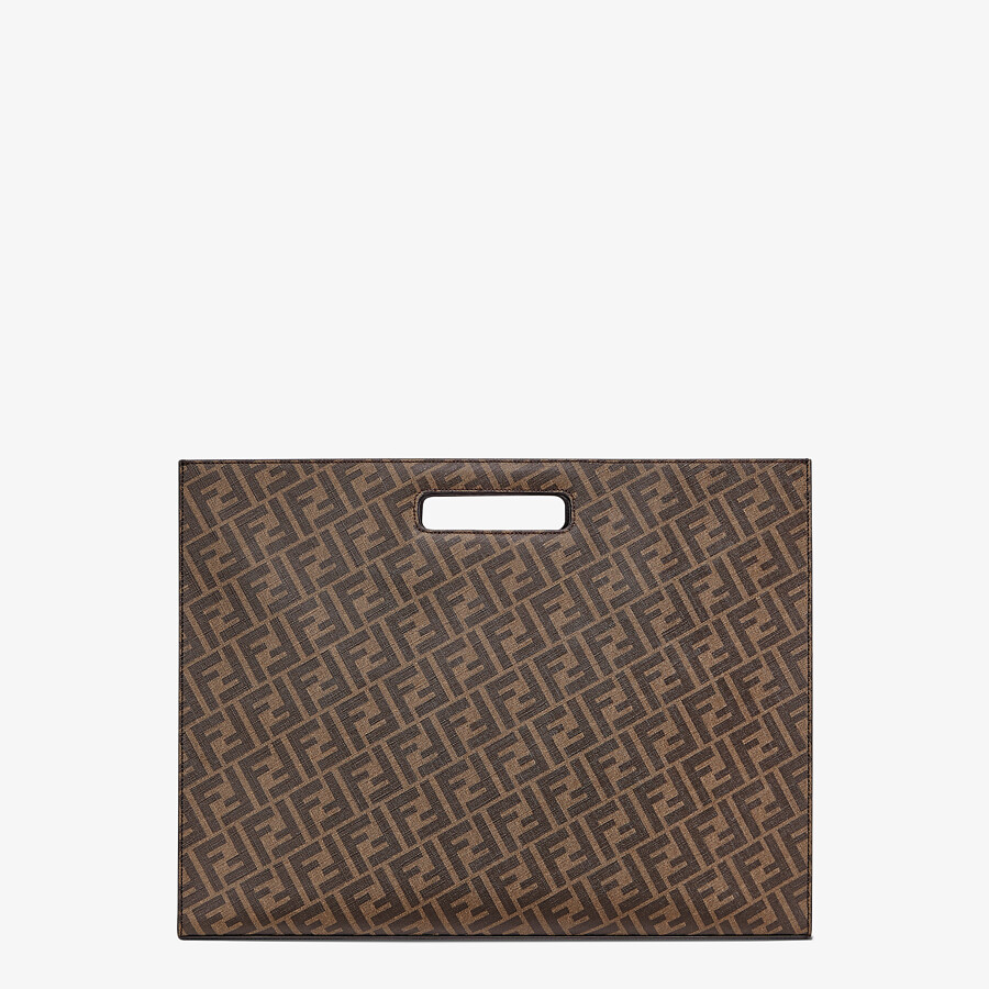 FENDI SHOPPING BAG - Brown fabric shopping bag - view 4 detail