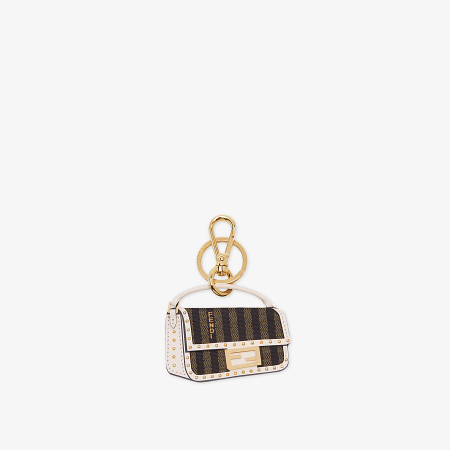 FENDI BAGUETTE KEY CHARM - White leather key ring - view 1 detail