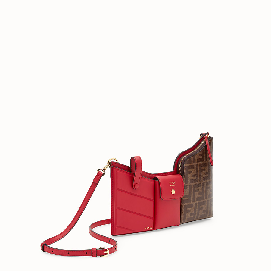 FENDI 3 POCKETS MINI BAG - Red leather messenger - view 2 detail