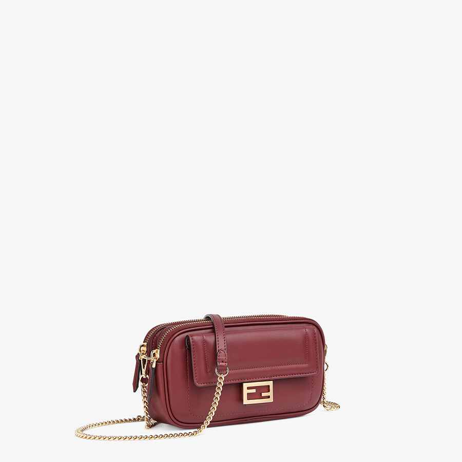 FENDI EASY 2 BAGUETTE - Mini-Tasche aus Leder in Bordeaux - view 2 detail