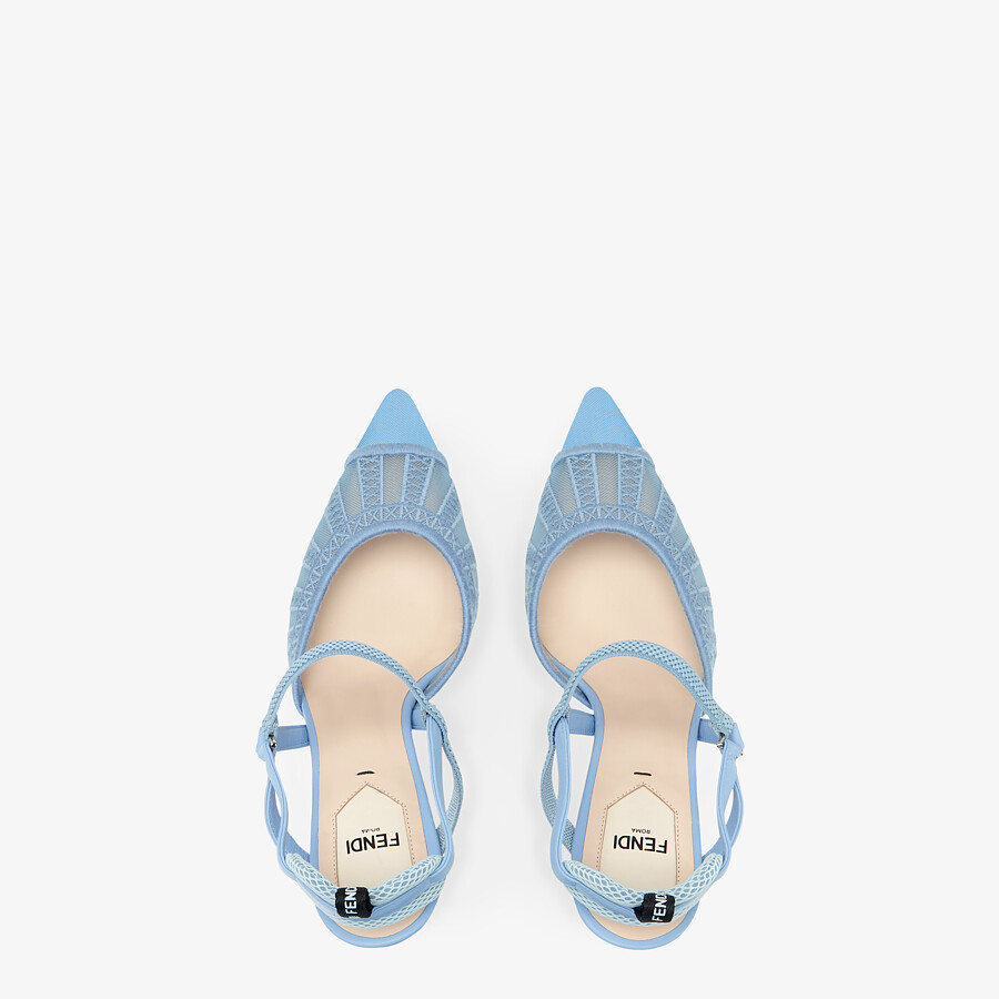 FENDI COLIBRI LITE SLINGBACKS - Light blue micro-mesh slingbacks - view 4 detail