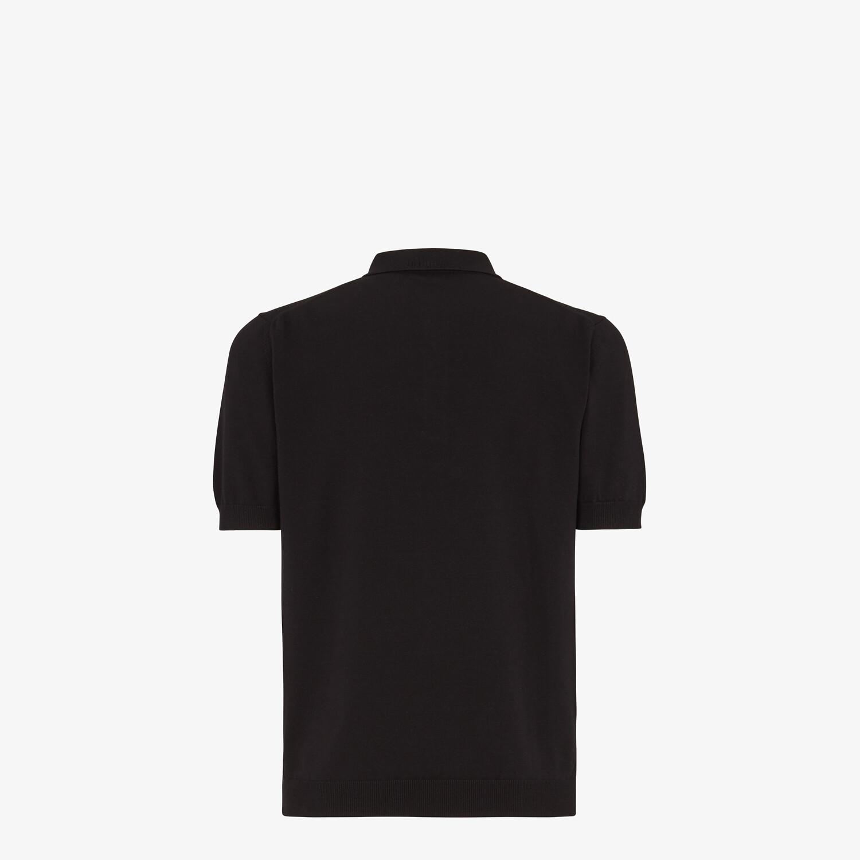 FENDI POLO SHIRT - Black cotton polo shirt - view 2 detail