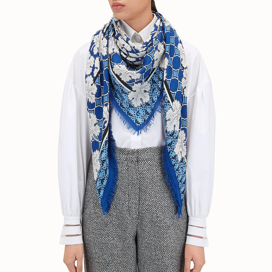 FENDI SCIALLE FENDI HERITAGE - Scialle in seta e lana multicolor - vista 3 dettaglio