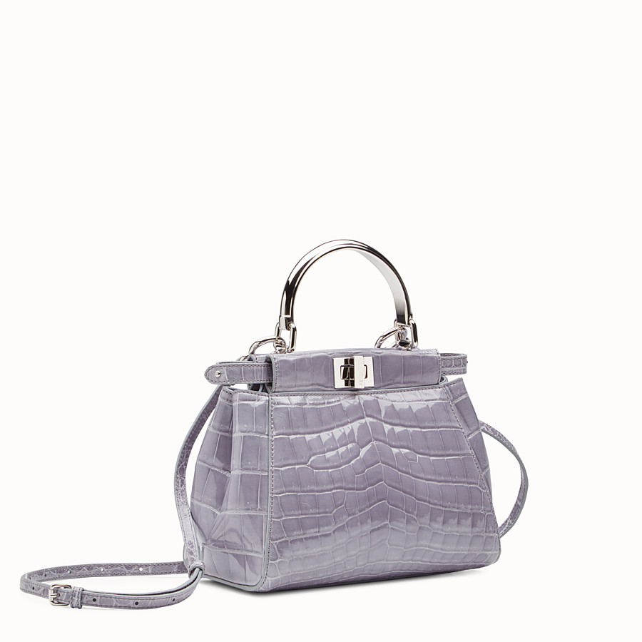FENDI PEEKABOO MINI - Grey crocodile bag - view 2 detail