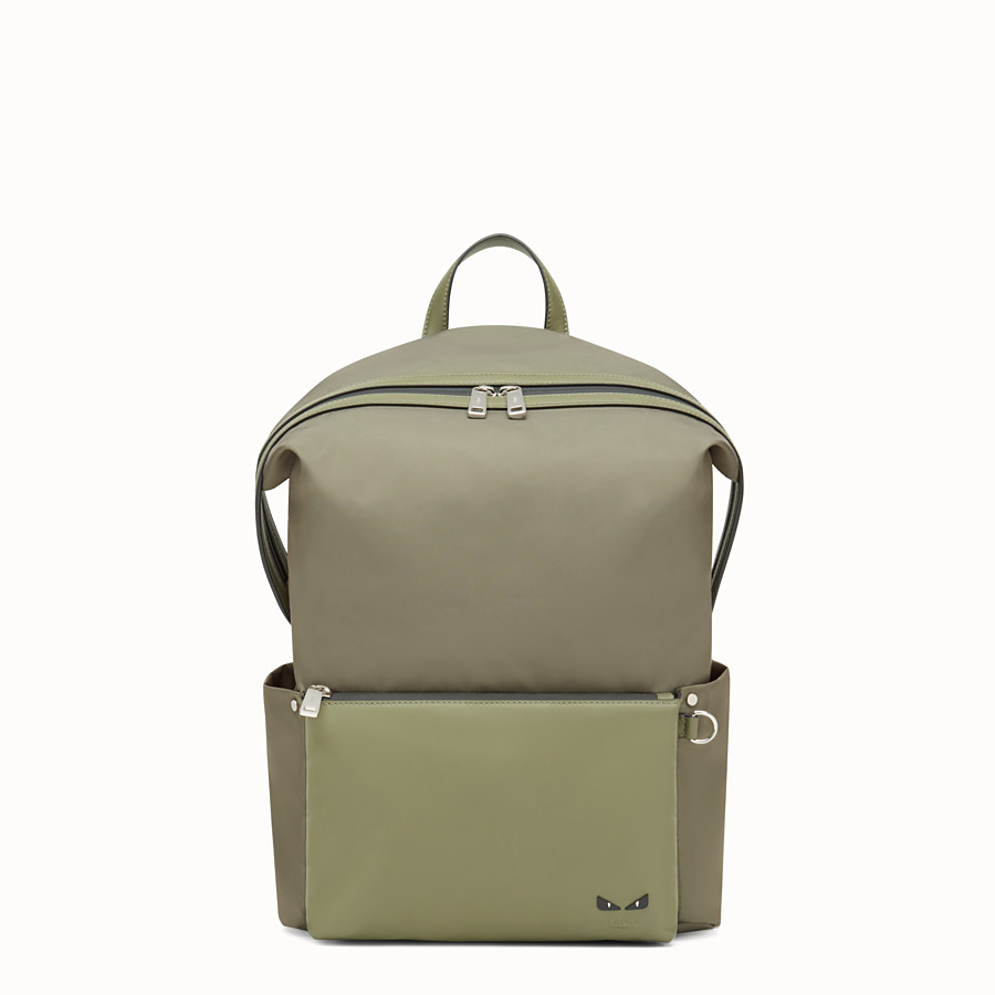 FENDI BACKPACK - Green nylon and leather backpack - view 1 detail