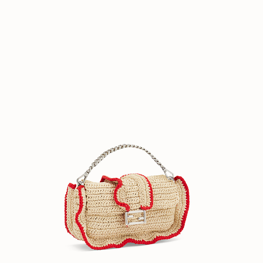 FENDI MICRO BAGUETTE - Microbag in two-tone straw - view 2 detail