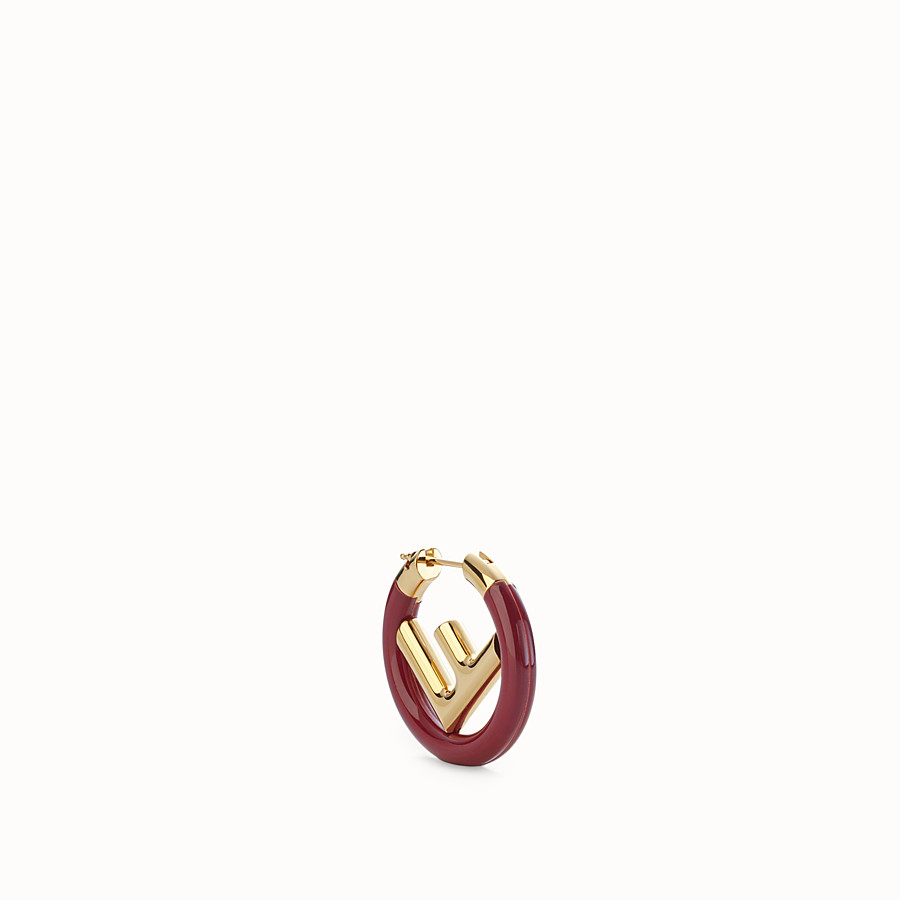 FENDI F IS FENDI EARRING - Gold and red coloured earring - view 1 detail