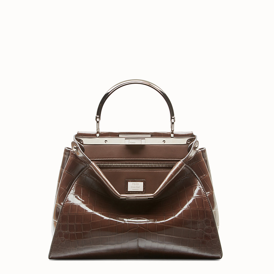 FENDI PEEKABOO REGULAR - Dark brown crocodile leather handbag. - view 1 detail