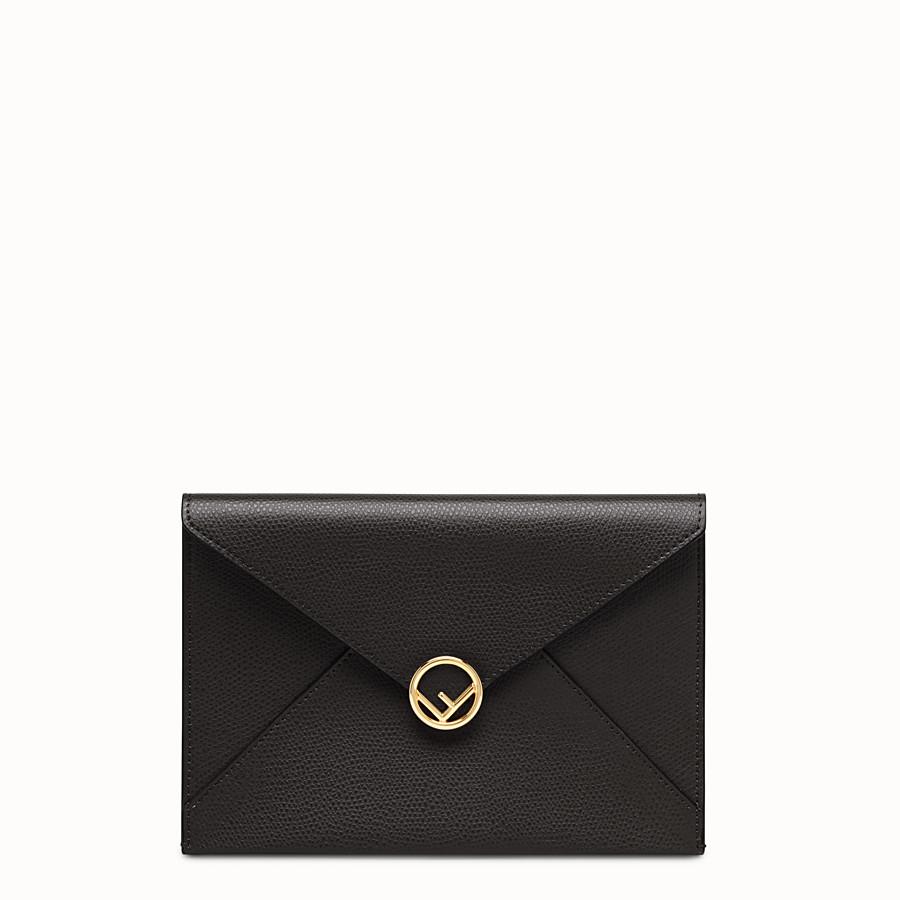 7598034603c7 Black leather pouch - MEDIUM FLAT POUCH