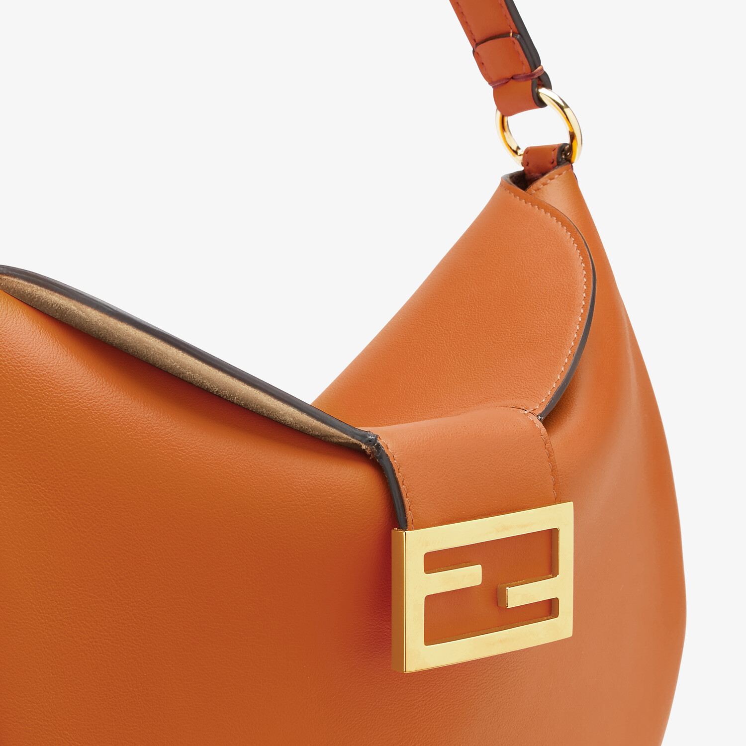 FENDI SMALL CROISSANT -  Brown leather bag - view 6 detail