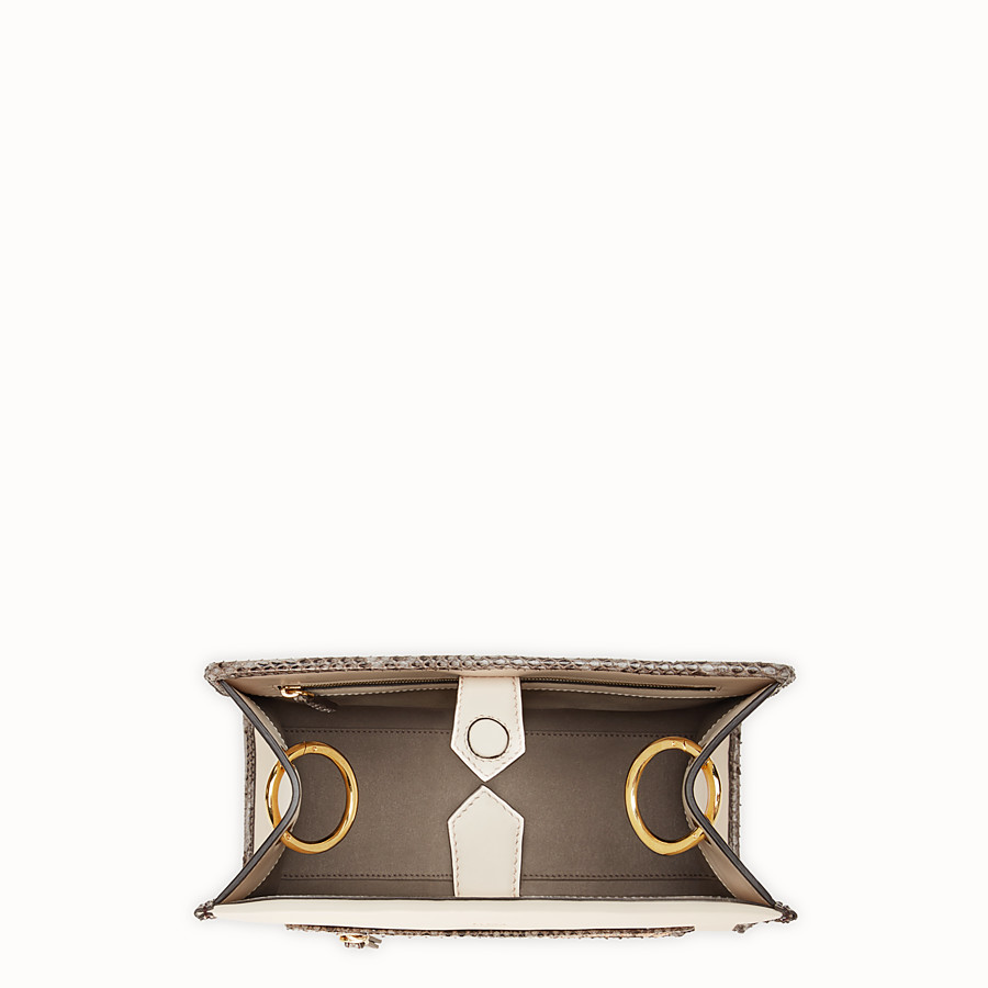 FENDI RUNAWAY SMALL - White leather bag with exotic details - view 4 detail