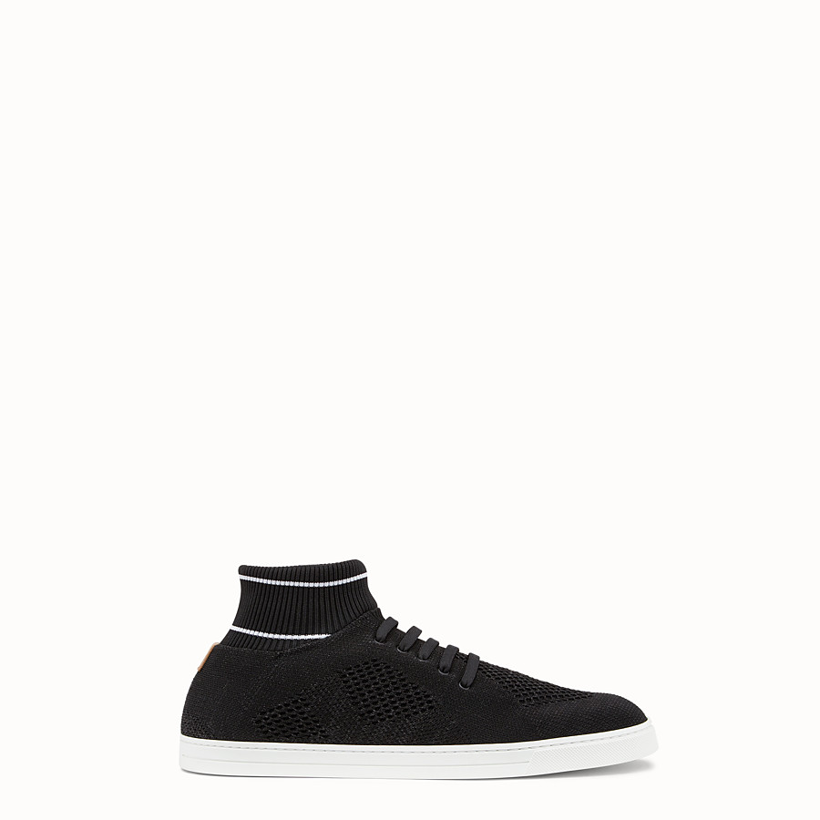 FENDI SNEAKERS - Black knit slip-ons - view 1 detail