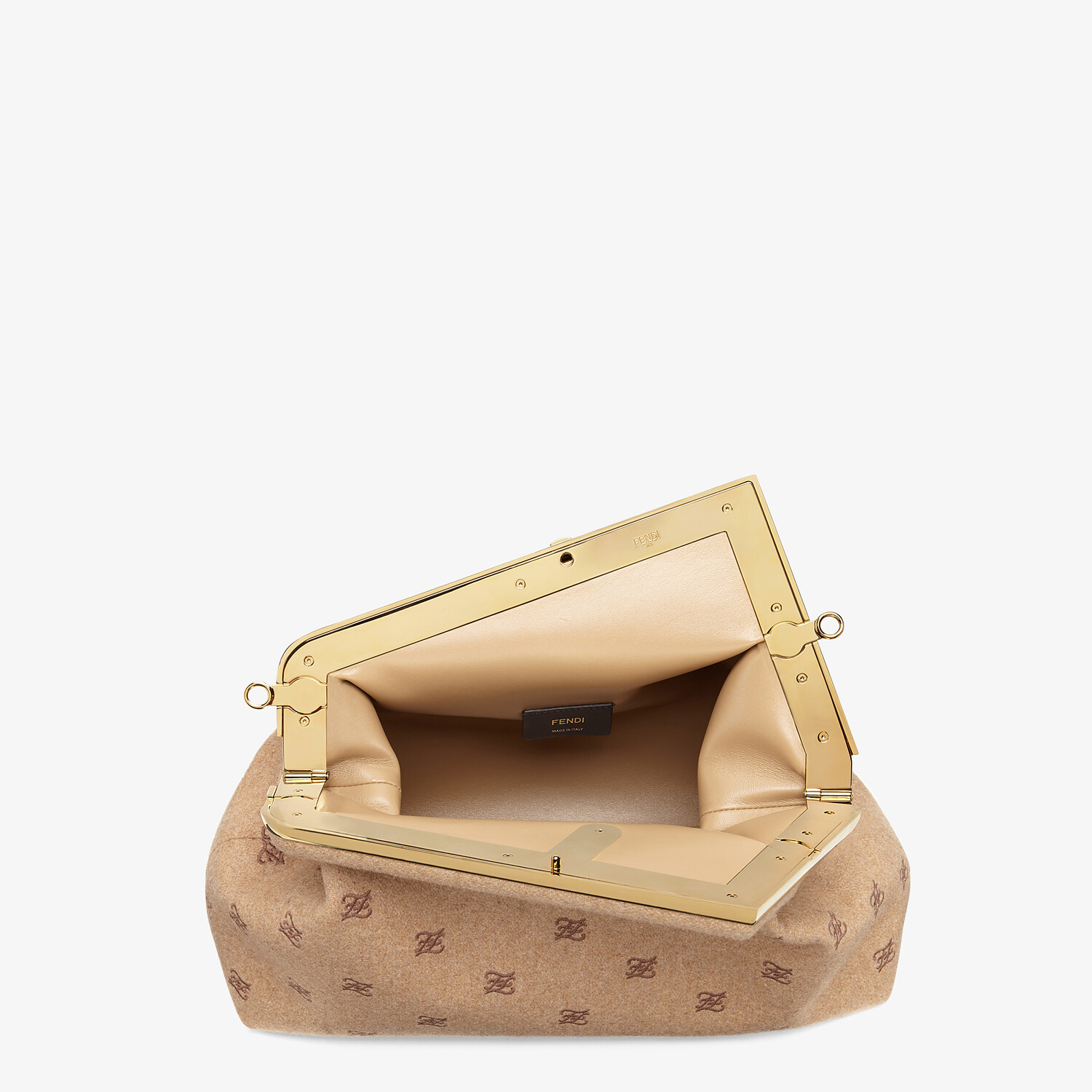 FENDI FENDI FIRST MEDIUM - Beige flannel bag with embroidery - view 5 detail