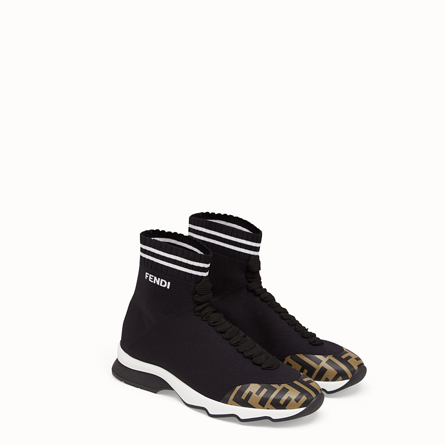 FENDI SNEAKERS - Black fabric sneaker boots - view 4 detail