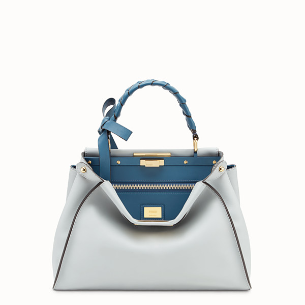 FENDI PEEKABOO REGULAR - Borsa in pelle grigia - vista 1 thumbnail piccola