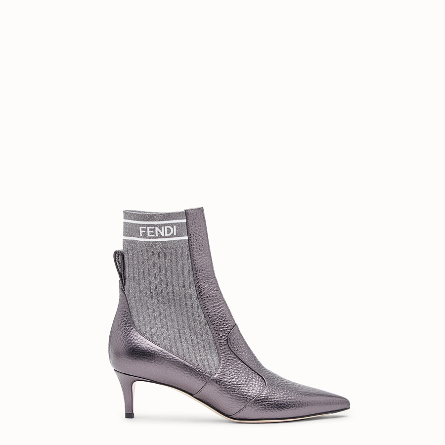FENDI BOTTES - Bottines en cuir gris - view 1 detail