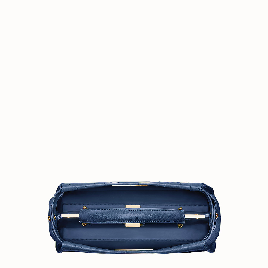 FENDI PEEKABOO REGULAR - Blue ostrich leather handbag. - view 4 detail
