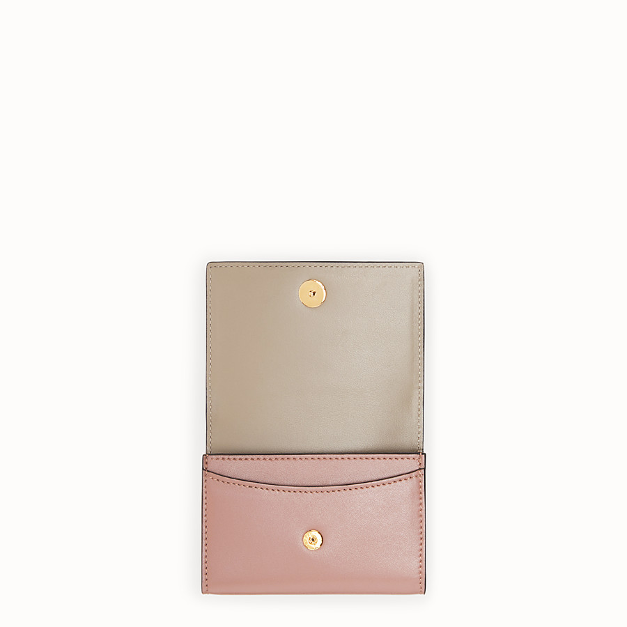 FENDI CARD HOLDER - Pink leather business card holder - view 4 detail