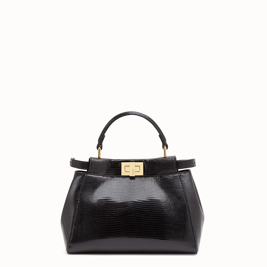 FENDI PEEKABOO MINI - Black lizard bag - view 1 detail