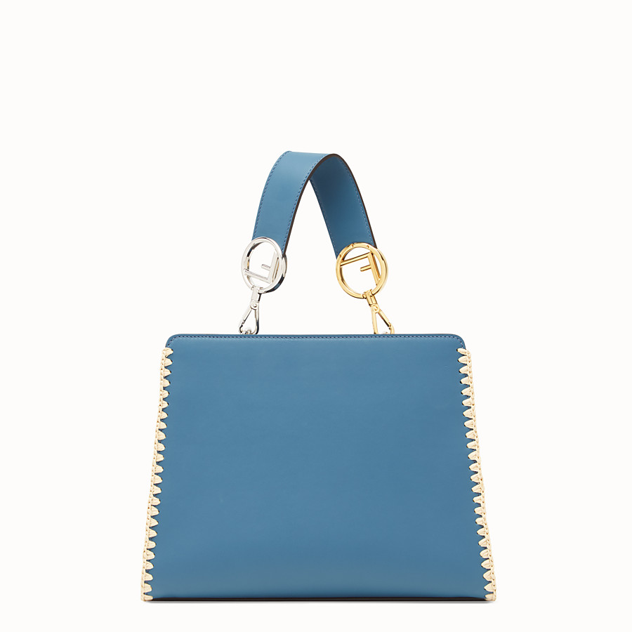 FENDI RUNAWAY SMALL - Blue leather bag with exotic details - view 3 detail