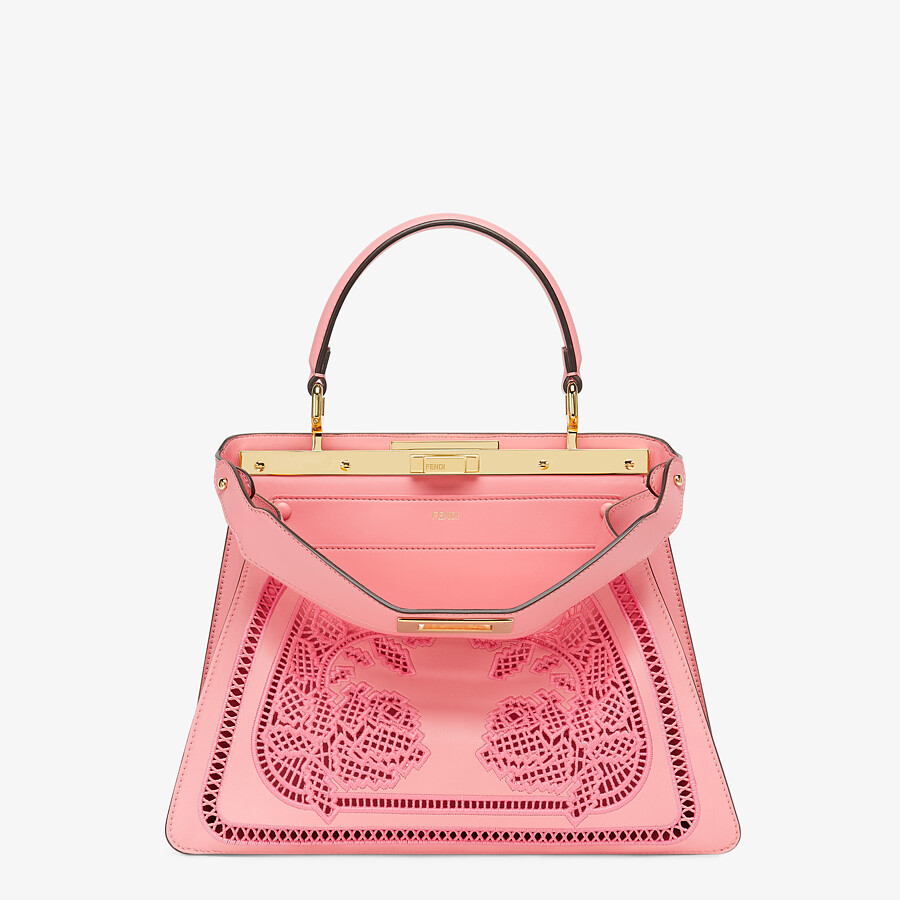 FENDI PEEKABOO ISEEU MEDIUM - Pink leather bag with embroidery - view 1 detail