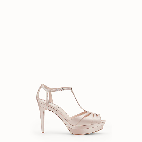 FENDI SANDALS - Pink satin high sandals - view 1 small thumbnail