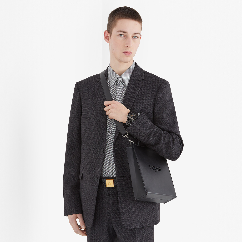 FENDI FENDI PACK SMALL SHOPPING BAG - Black leather bag - view 6 detail