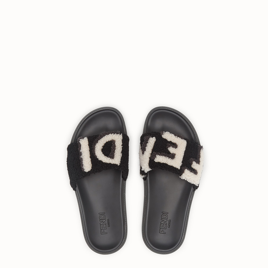 FENDI SLIDES - Black sheepskin slides - view 4 detail