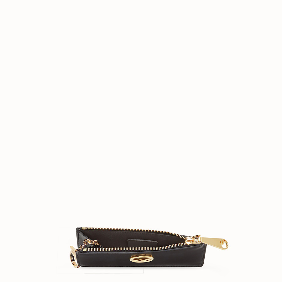 FENDI KEY RING POUCH - Black leather pouch - view 4 detail