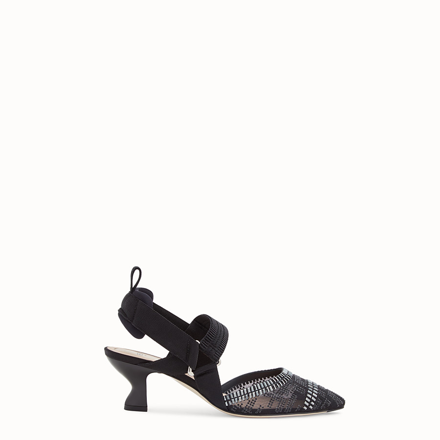 FENDI SLINGBACK - Colibrì in mesh and black leather - view 1 detail
