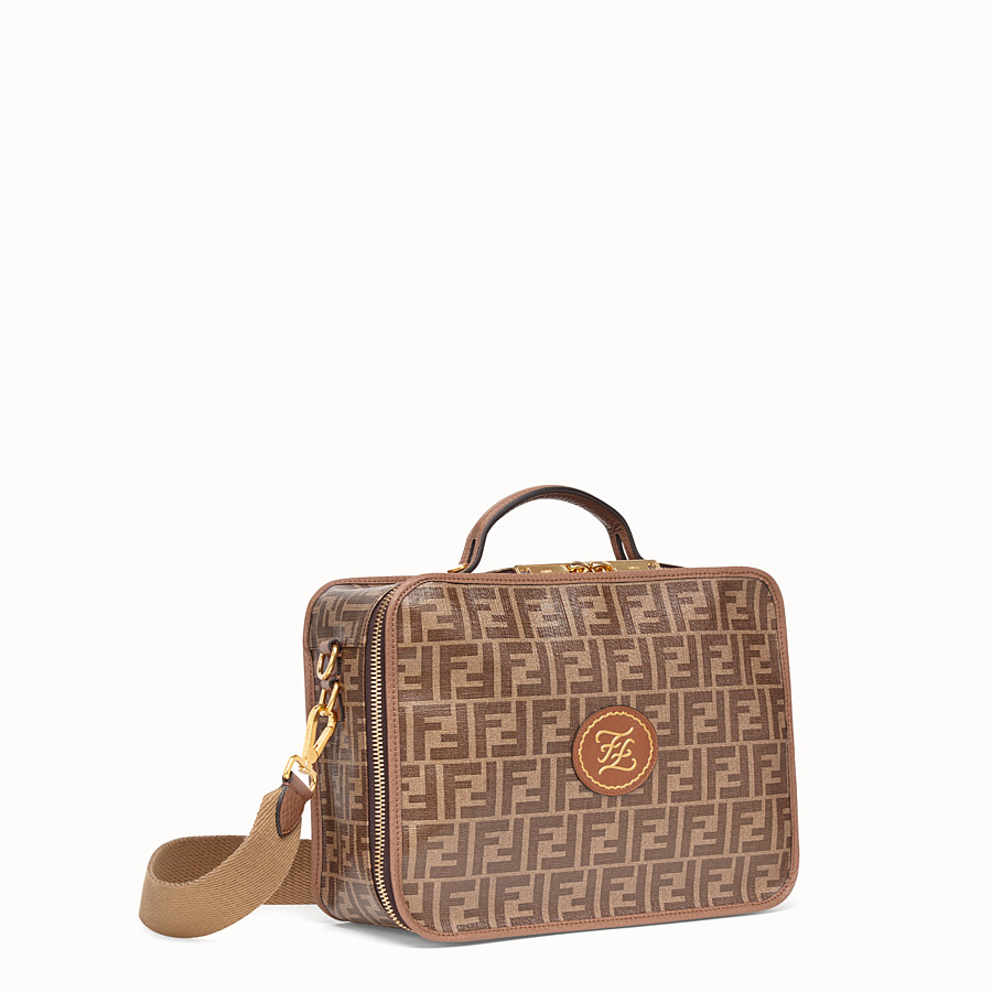 FENDI SMALL TRAVEL BAG - Large brown fabric bag - view 2 detail
