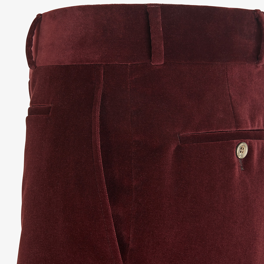 FENDI TROUSERS - Burgundy velvet trousers - view 3 detail