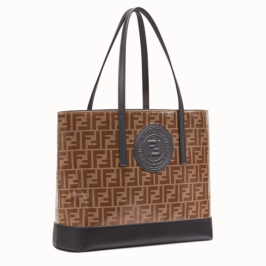 FENDI SHOPPING LOGO - Brown leather shopper - view 2 detail