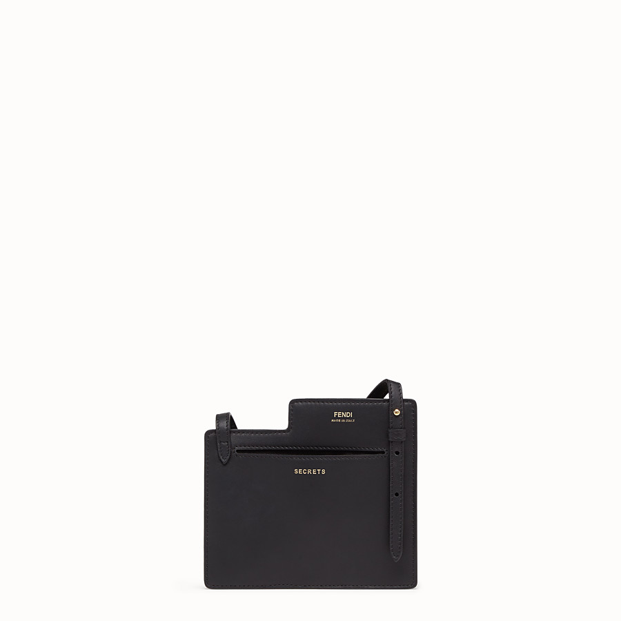 FENDI 2 POCKETS MINI BAG - Black leather messenger - view 3 detail