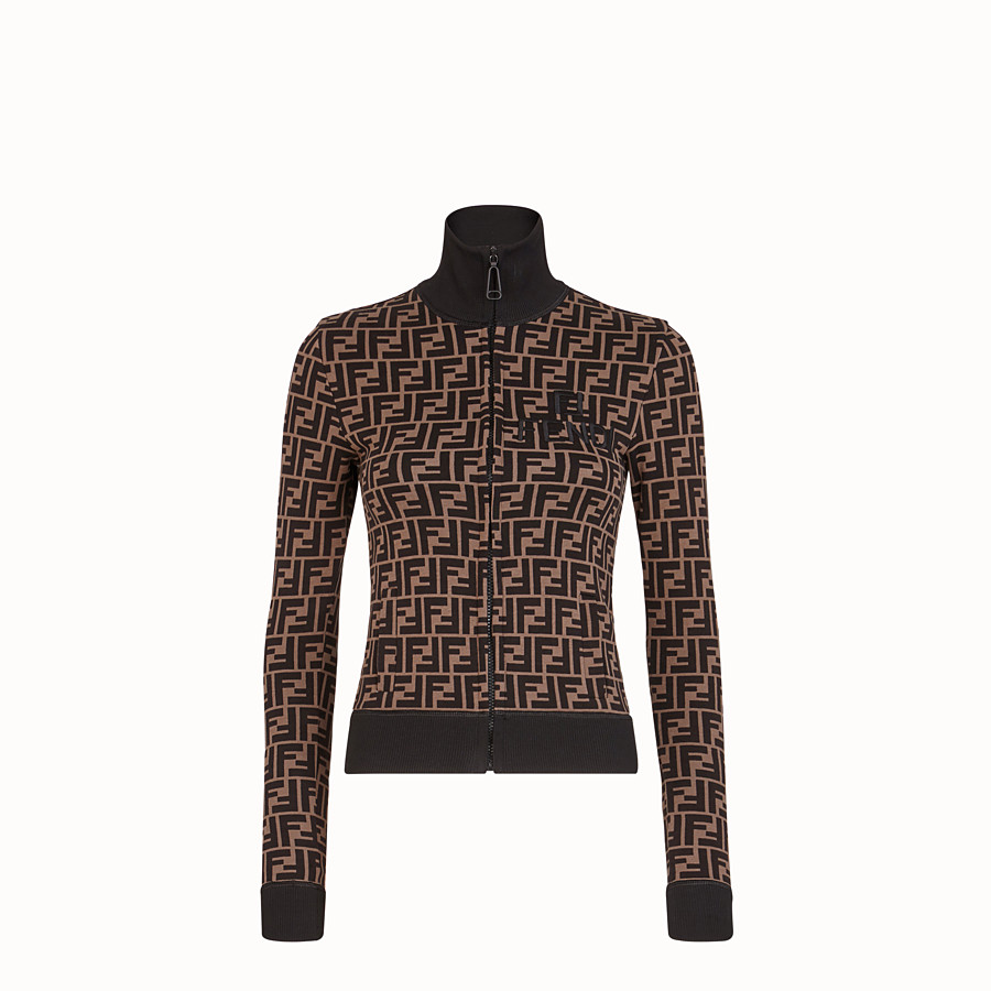 FENDI SWEATSHIRT - Brown cotton jersey sweatshirt - view 1 detail